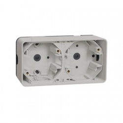 2-násobná inštalačná krabica, povrchová, IP55, horizontálna, biela