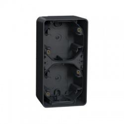 2-násobná inštalačná krabica, povrchová, IP55, vertikálna, antracit