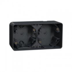 2-násobná inštalačná krabica, povrchová, IP55, horizontálna, antracit