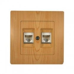 32105036 Lillium zásuvka 2xRJ45, Cat. 5e,(8pin), svetlé drevo