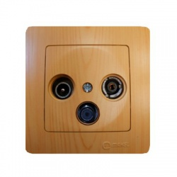 32105066 Lillium TV+R+SAT zásuvka koncová, svetlé drevo