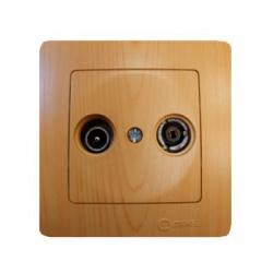 32105065 Lillium TV-R zásuvka koncová, svetlé drevo