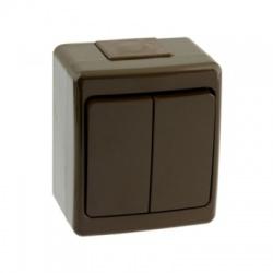 BETA vypínač č. 5 na omietku, hnedý, IP44
