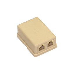 Telefónna zásuvka 2xRJ11 6P4C, krémová