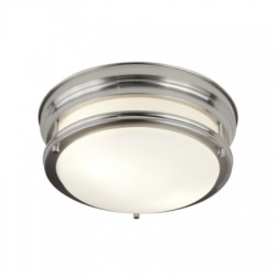 Edinburgh 2LT FLUSH - SATIN SILVER WITH OPAL GLASS IP44