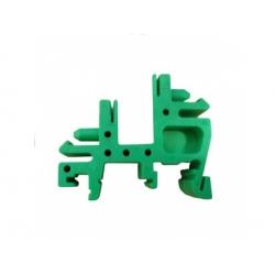 E02 plastový držiak na DIN lištu, zelený