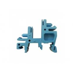 E02 plastový držiak na DIN lištu, modrý
