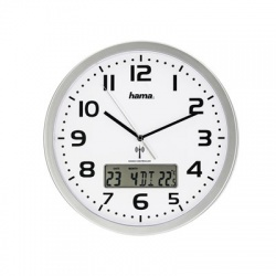 Extra, nástenné hodiny riadené rádiovým signálom, s dátumom a teplotou