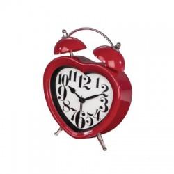 Heart, budík s tichým chodom, červený
