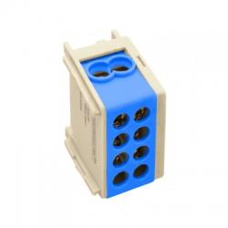 2x25mm2, 400VAC, 101A, odbočovacia svorka, modrá