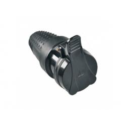 P77 zásuvka gumová do vlhka, priama, 230V, IP44, čierna