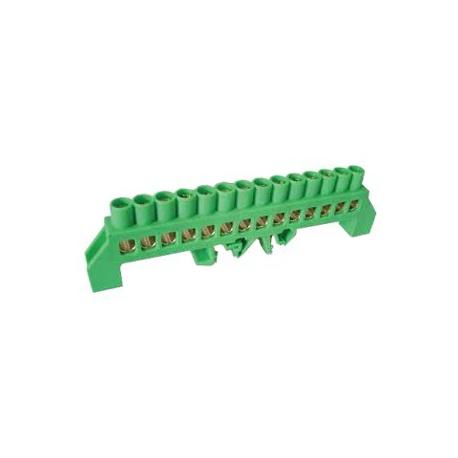 PE most, 14-vývodový, 230/400VAC, 100A, 8x12mm, zelený
