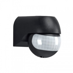 PIR senzor nástenný, vonkajší, čierny