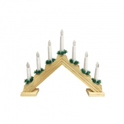Svietnik, 7ks žiaroviek, svetlé drevo