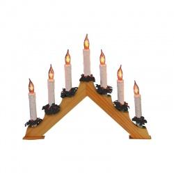"Svietnik, 7ks žiaroviek, ""plameň sviečky"", lakované drevo"