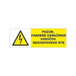 Pozor, farebné označenie vodičov nezodpovedá STN, 60x29mm, nálepka