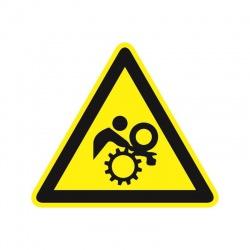 Pozor, nebezpečenstvo vtiahnutia! 50x50mm, nálepka