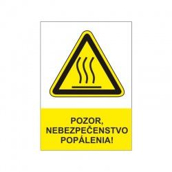 Pozor, nebezpečenstvo popálenia 60x80mm, nálepka