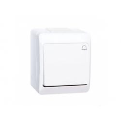 Vypínač č.1/0 na omietku, IP44, biela