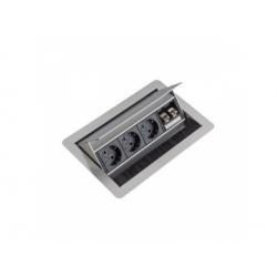 FlipTop zásuvka 3x230V+2xRJ45 cat.6, strieborná