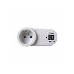 USB nabíjací adaptér s priebežnou zásuvkou, 1000mA, biely