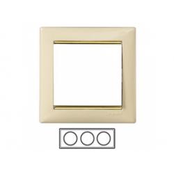 3-rámik, béžová/ zlatý prúžok 774153