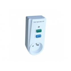 Zásuvkový adaptér s prúdovým chráničom, s ochr. kolíkom 16A, 30mA, 6kA,IP40